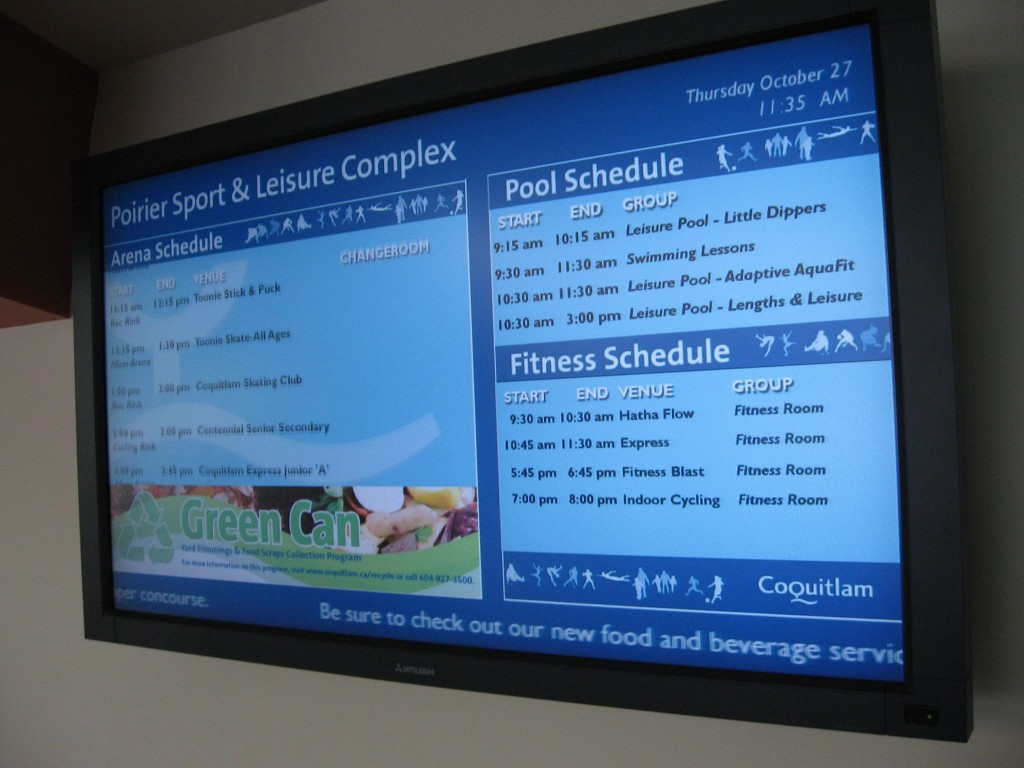 Digital Advertising Displays are very popular screens in high traffic areas such as lobbies and entrance foyers.